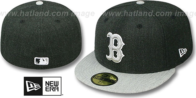 Red Sox '2T-HEATHER ACTION' Charcoal-Grey Fitted Hat by New Era : pictured without stickers that these products are shipped with