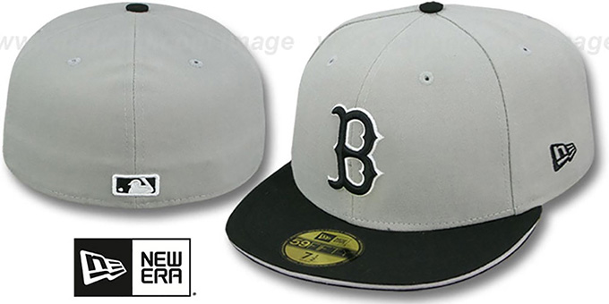 Red Sox '2T SPLIT TEAM-BASIC' Grey-Black Fitted Hat by New Era : pictured without stickers that these products are shipped with