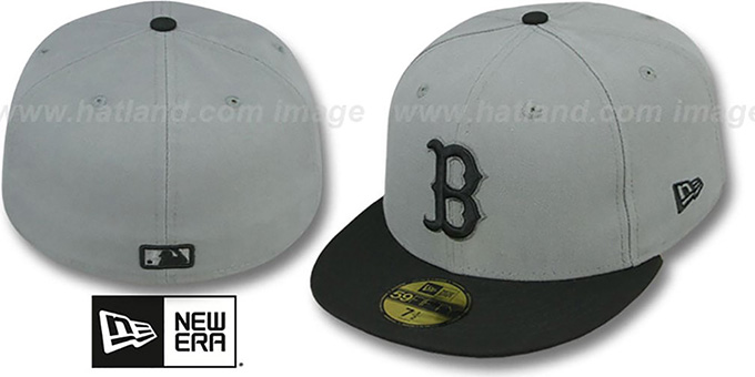 Red Sox '2T TEAM-BASIC' Grey-Black Fitted Hat by New Era : pictured without stickers that these products are shipped with