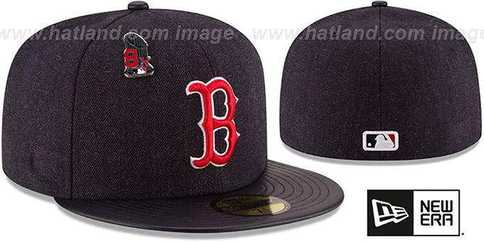 Red Sox 8X 'HEATHER-PIN' Navy Fitted Hat by New Era : pictured without stickers that these products are shipped with
