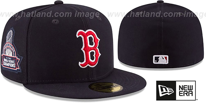 Red Sox 8X 'TITLES SIDE-PATCH' Navy Fitted Hat by New Era : pictured without stickers that these products are shipped with