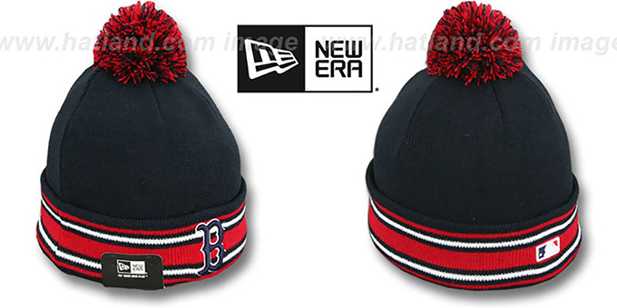 Red Sox 'AC-ONFIELD' Navy Knit Beanie Hat by New Era : pictured without stickers that these products are shipped with