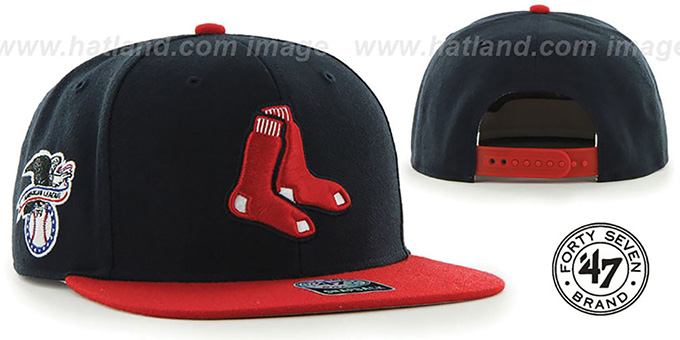 Red Sox 'ALT SURE-SHOT SNAPBACK' Navy-Red Hat by Twins 47 Brand : pictured without stickers that these products are shipped with