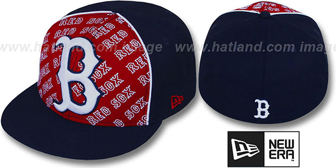 Red Sox 'ANGLEBAR' Navy-Red Fitted Hat by New Era : pictured without stickers that these products are shipped with