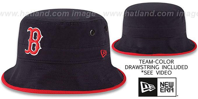Red Sox 'BASIC-ACTION' Navy Bucket Hat by New Era : pictured without stickers that these products are shipped with