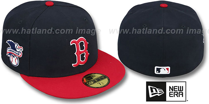 Red Sox 'BAYCIK' Navy-Red Fitted Hat by New Era : pictured without stickers that these products are shipped with