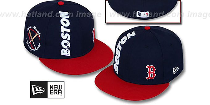 Red Sox 'BEELINE' Navy-Red Fitted Hat by New Era : pictured without stickers that these products are shipped with