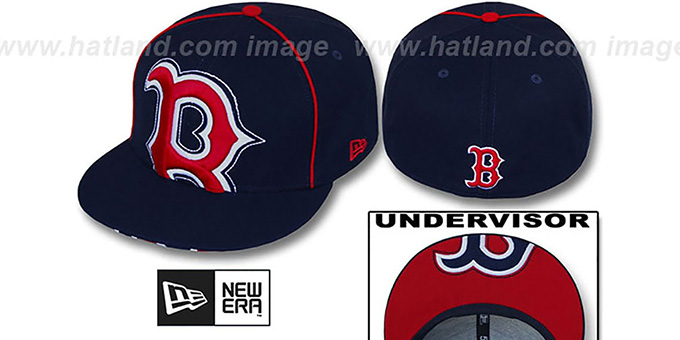 Red Sox 'BIG-UNDER' Navy Fitted Hat by New Era : pictured without stickers that these products are shipped with