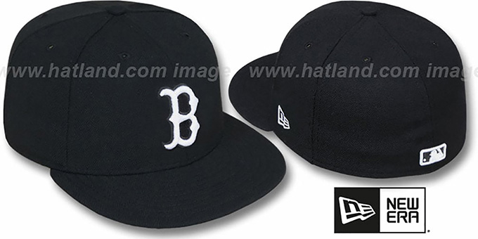 Red Sox 'TEAM-BASIC' Black-White Fitted Hat by New Era : pictured without stickers that these products are shipped with