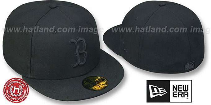 Red Sox 'BLACKOUT' Fitted Hat by New Era : pictured without stickers that these products are shipped with