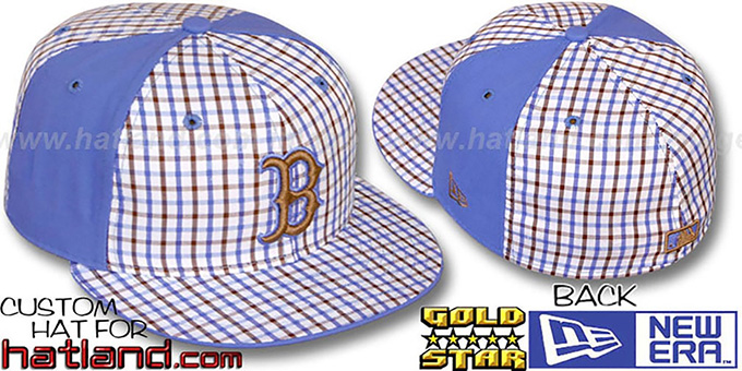 Red Sox 'BLUE BONNETT' Plaid-Light Blue Fitted Hat by New Era : pictured without stickers that these products are shipped with