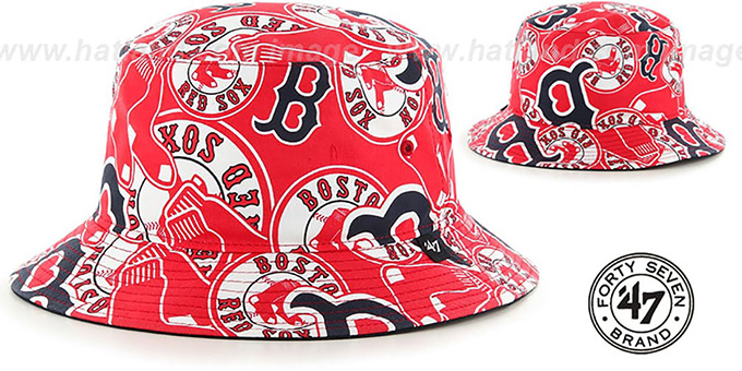 Red Sox 'BRAVADO BUCKET' Hat by Twins 47 Brand : pictured without stickers that these products are shipped with