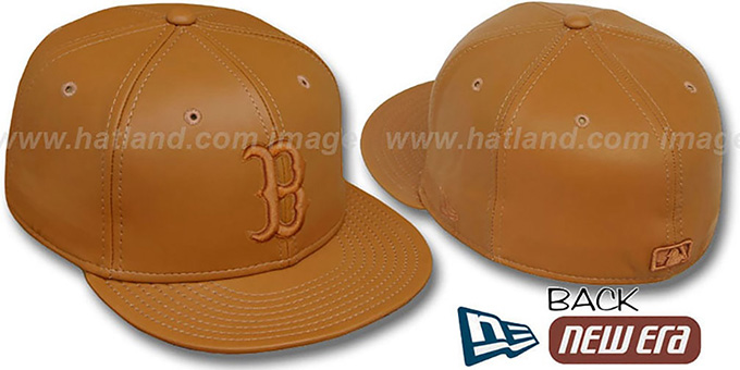 Red Sox 'BUTTERSCOTCH LEATHER' Fitted Hat by New Era : pictured without stickers that these products are shipped with