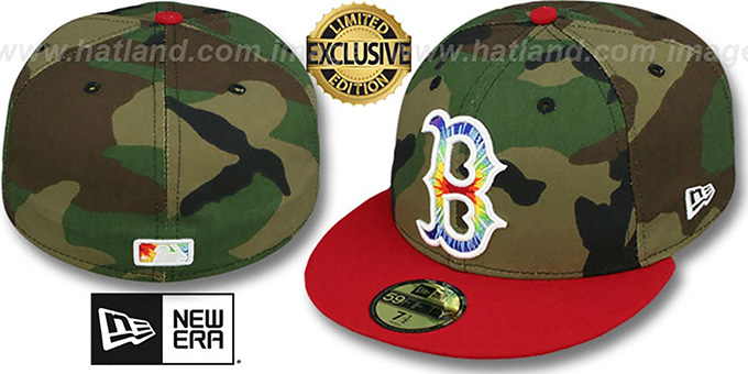 Red Sox 'CAMO TYE-DYE INSIDER' Army-Red Fitted Hat by New Era