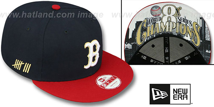 Red Sox 'CHAMPS-HASH SNAPBACK' Navy-Red Hat by New Era : pictured without stickers that these products are shipped with