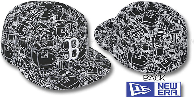 Red Sox 'CHAOS PUFFY' Black-White Fitted Hat by New Era : pictured without stickers that these products are shipped with