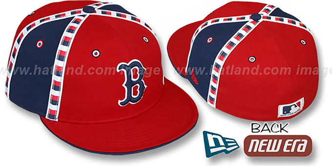 Red Sox 'CHECKERED PAST' Fitted Hat by New Era : pictured without stickers that these products are shipped with