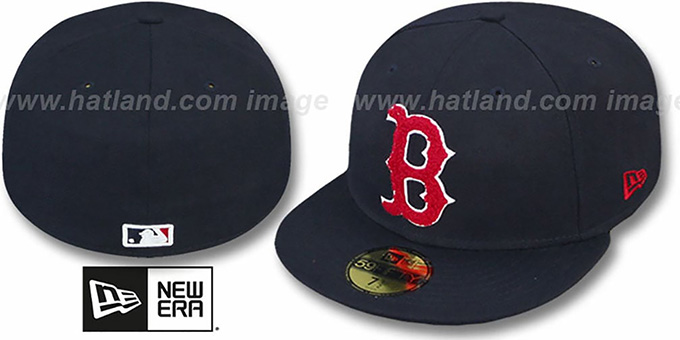 Red Sox 'CHENILLE APPLIQUE' Navy Fitted Hat by New Era : pictured without stickers that these products are shipped with