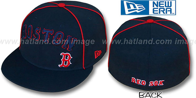 Red Sox 'CITY-FLAWLESS' Navy Fitted Hat by New Era : pictured without stickers that these products are shipped with