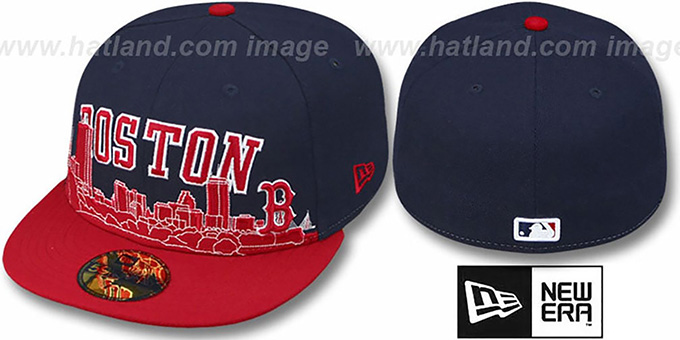 Red Sox 'CITY-LINE' Navy-Red Fitted Hat by New Era : pictured without stickers that these products are shipped with