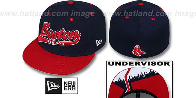 Red Sox 'CITY-SCRIPT' Navy-Red Fitted Hat by New Era : pictured without stickers that these products are shipped with