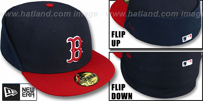 Red Sox 'CLEAN CUT FLIP-DOWN' Navy-Red Fitted Hat by New Era : pictured without stickers that these products are shipped with