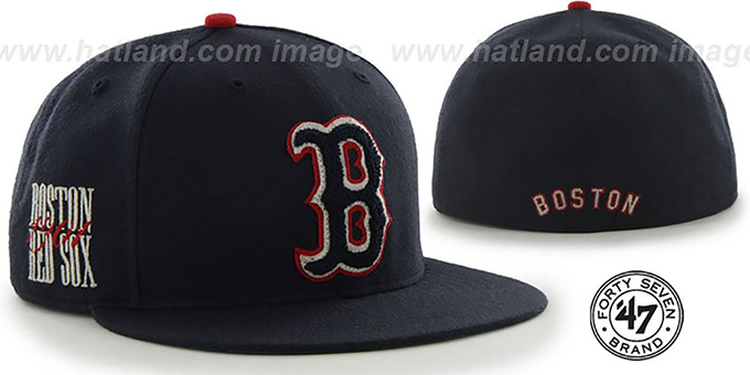 Red Sox COOP 'CATERPILLAR' Navy Fitted Hat by 47 Brand : pictured without stickers that these products are shipped with