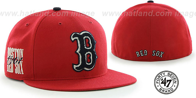 Red Sox COOP 'CATERPILLAR' Red Fitted Hat by 47 Brand : pictured without stickers that these products are shipped with