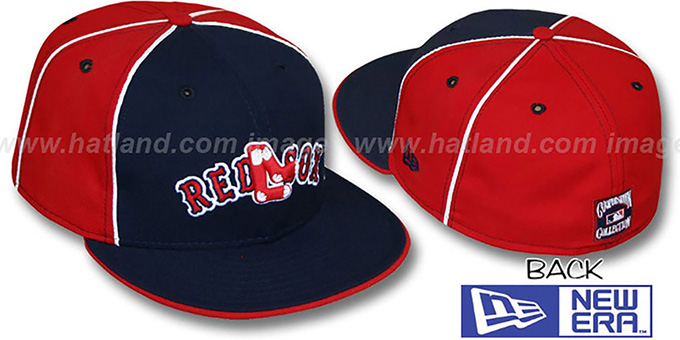 Red Sox COOP 'DECEPTOR-2 PINWHEEL' Navy-Red Fitted Hat : pictured without stickers that these products are shipped with