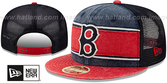 Red Sox 'COOP HERITAGE-BAND TRUCKER SNAPBACK' Navy-Red Hat by New Era
