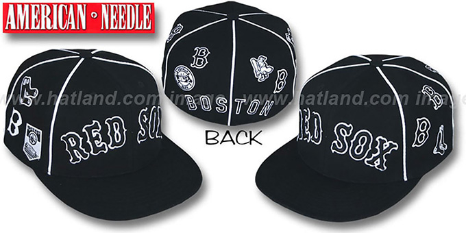 Red Sox 'COOPERSTOWN ALL-OVER' Black Fitted Hat by American Needle : pictured without stickers that these products are shipped with