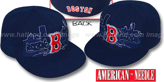 Red Sox 'COOPERSTOWN SKYLINE' Navy Fitted Hat by American Needle : pictured without stickers that these products are shipped with