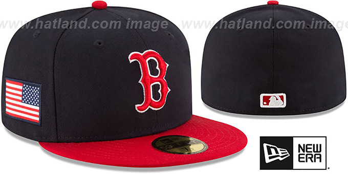 Red Sox 'COUNTRY COLORS' Navy-Red Fitted Hat by New Era : pictured without stickers that these products are shipped with