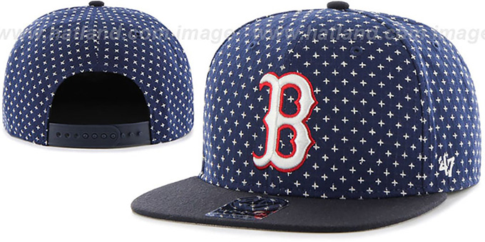 Red Sox 'CROSSBREED SNAPBACK' Navy Hat by Twins 47 Brand : pictured without stickers that these products are shipped with