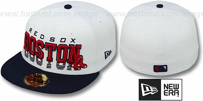 Red Sox 'DISSOLVER' White-Navy Fitted Hat by New Era : pictured without stickers that these products are shipped with