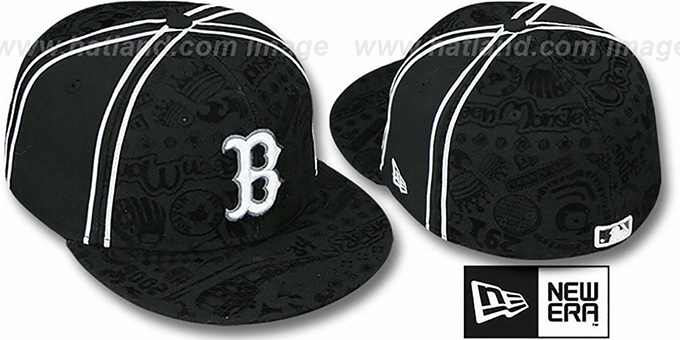 Red Sox 'DUAL-PIPED INKED' Black Fitted Hat by New Era : pictured without stickers that these products are shipped with
