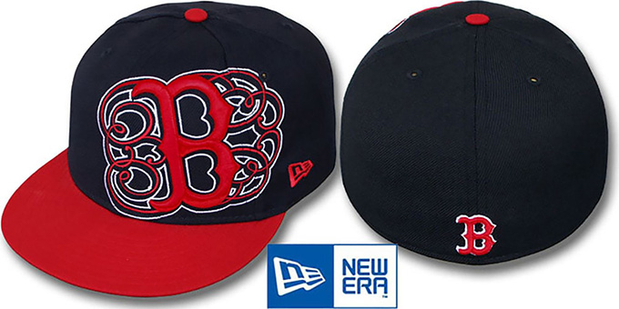 Red Sox 'DUBCHA' Navy-Red Fitted Hat by New Era : pictured without stickers that these products are shipped with