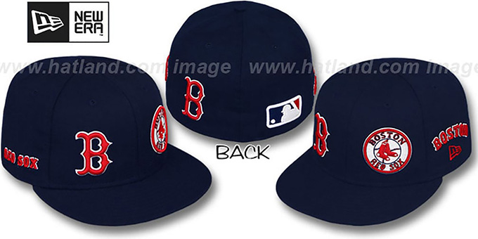 Red Sox 'EVOLUTION' Fitted Hat by New Era - navy : pictured without stickers that these products are shipped with