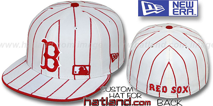 Red Sox 'FABULOUS' White-Red Fitted Hat by New Era : pictured without stickers that these products are shipped with