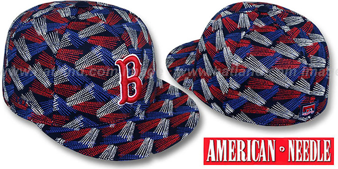 Red Sox 'FLICKER' Navy Fitted Hat by American Needle : pictured without stickers that these products are shipped with