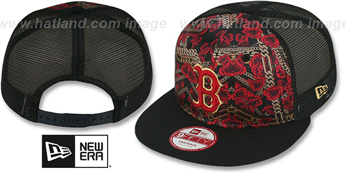 Red Sox 'FLORAL CHAIN SNAPBACK' Hat by New Era : pictured without stickers that these products are shipped with