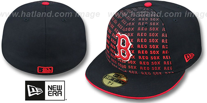 Red Sox 'FONT-FADEOUT' Navy Fitted Hat by New Era : pictured without stickers that these products are shipped with
