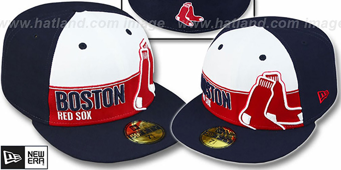 Red Sox 'FOUL BALL' White-Navy Fitted Hat by New Era : pictured without stickers that these products are shipped with