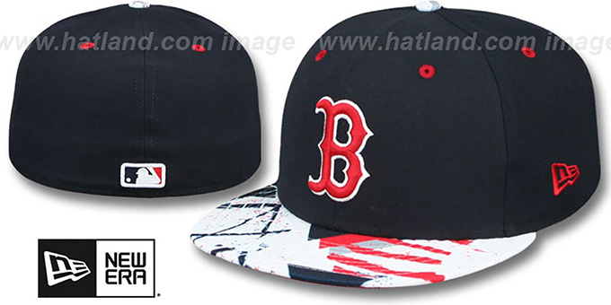Red Sox 'GEOMET TRICK' Navy Fitted Hat by New Era : pictured without stickers that these products are shipped with