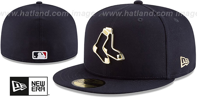 Red Sox 'GOLD FRAMED METAL-BADGE' Navy Fitted Hat by New Era