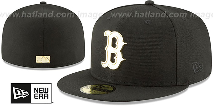 Red Sox 'GOLDEN-BADGE' Black Fitted Hat by New Era : pictured without stickers that these products are shipped with