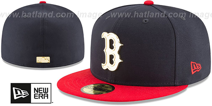 Red Sox 'GOLDEN-BADGE' Navy-Red Fitted Hat by New Era : pictured without stickers that these products are shipped with