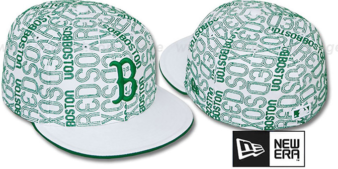 Red Sox 'GOOD TIMES ALL-OVER' White-Kelly Fitted Hat by New Era : pictured without stickers that these products are shipped with