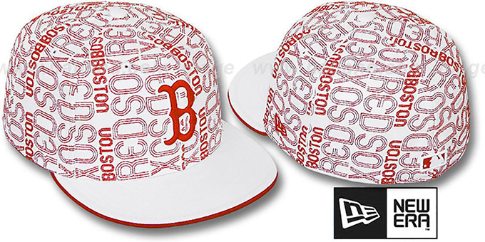 Red Sox 'GOOD TIMES ALL-OVER' White-Red Fitted Hat by New Era : pictured without stickers that these products are shipped with