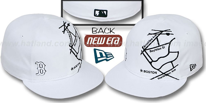 Red Sox 'GPS' White-Black Fitted Hat by New Era : pictured without stickers that these products are shipped with